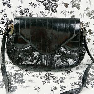 Vtg genuine black eel skin envelope shoulder bag